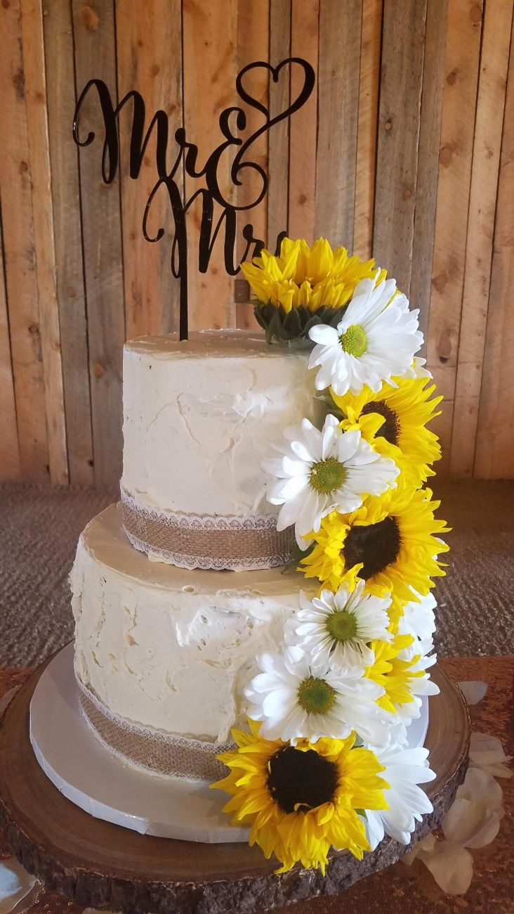 2 Tier Rustic Sunflowers Daisies Wedding Cake Roses Daisy