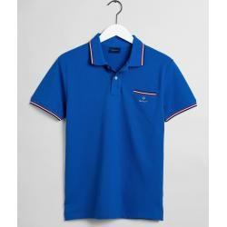 Photo of Gant Piqué Rugger Poloshirt mit Kontraststreifen (Blau) Gant