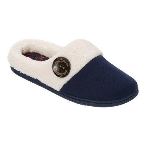 Women's Dearfoams Microsuede Clog Slipper with Fairisle Sock Peacoat