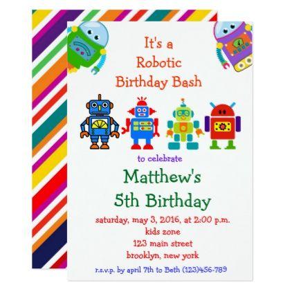Robot kids birthday party invitation robot kids birthday party invitation birthday gifts giftideas present stopboris Images