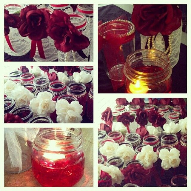 Vintage Wedding Ideas Mason Jars: Mason Jar Centerpieces Black, Red & Ivory, Vintage Wedding