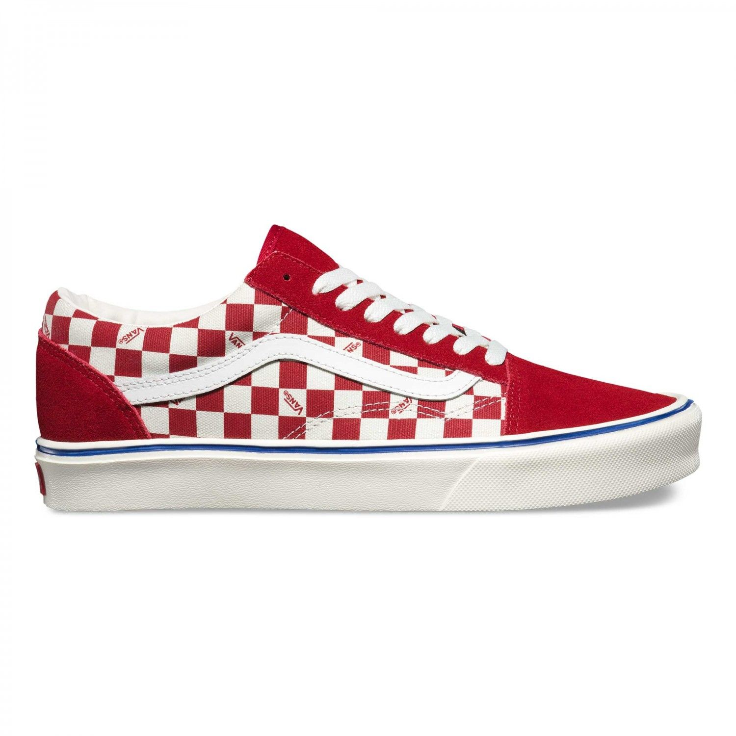 Vans Vans Seeing Checkers Old Skool Lite Shoes Seeing Checkers Chili Marshmallow Official Online Stor Mens Red Shoes Leather Shoes Men Sneakers Men Fashion