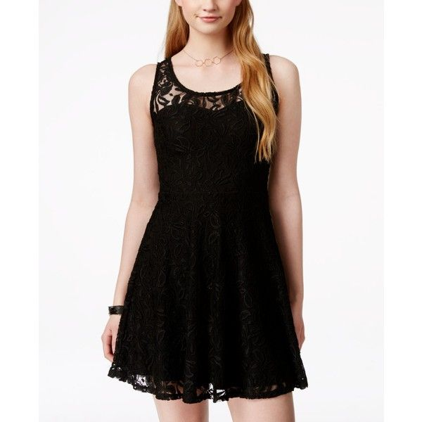 Material Girl Juniors  Lace Skater Dress ( 45) ❤ liked on Polyvore  featuring dresses b7c702823