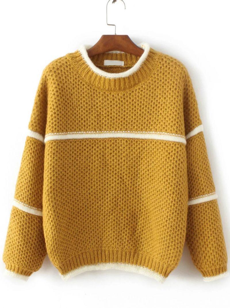 Yellow Contrast Trim Crew Neck Sweater | Crew neck sweaters ...