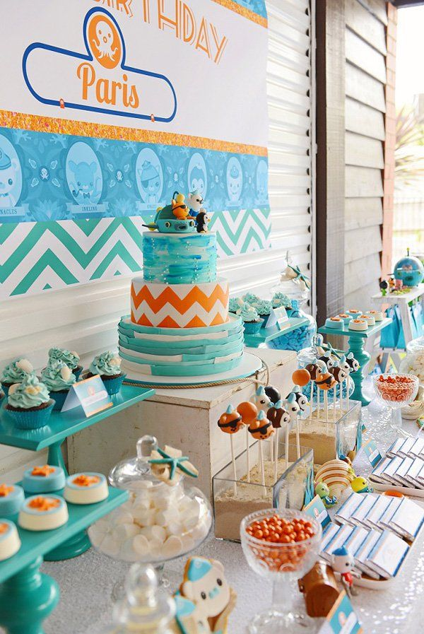Bright Stylish Octonauts Inspired Birthday Party Octonauts Party Dessert Table And Birthdays