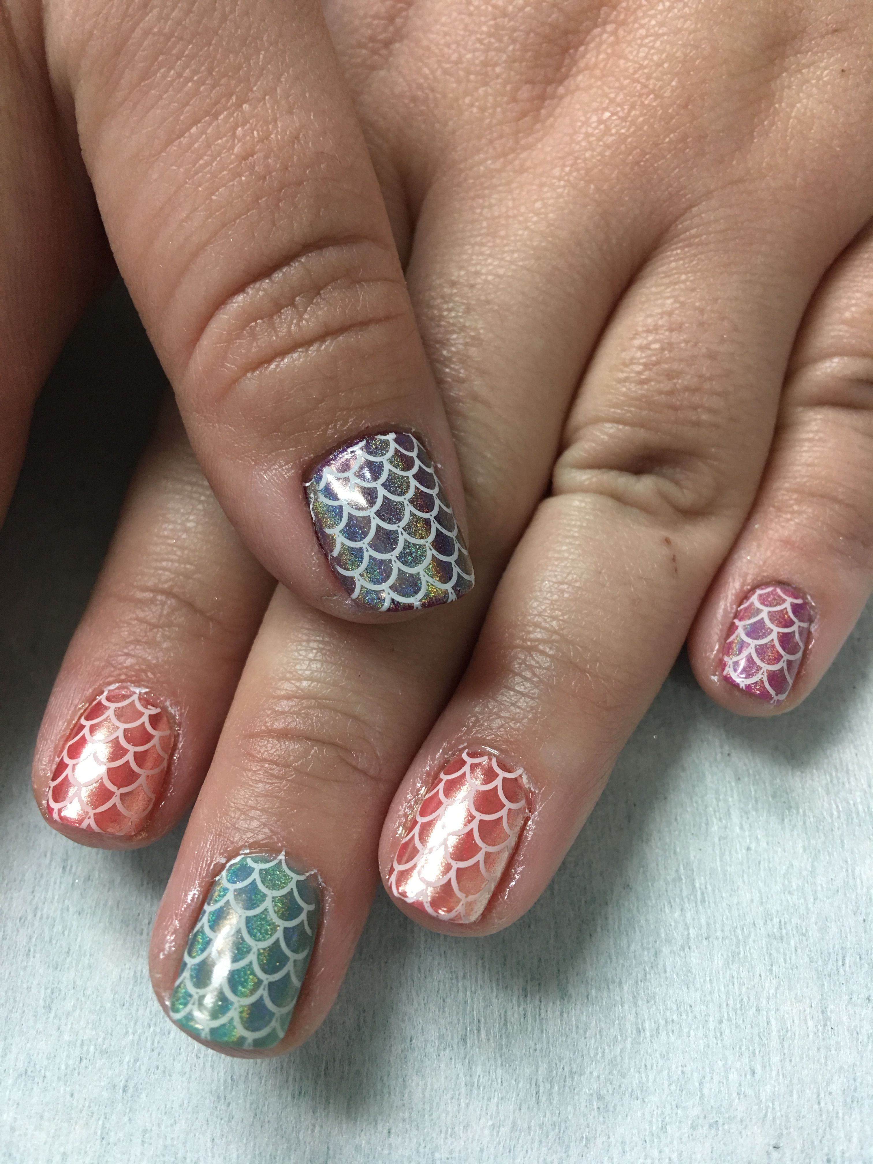 Summer Vacation stamped Mermaid Fish Scale Rose Chrome Hologram ...