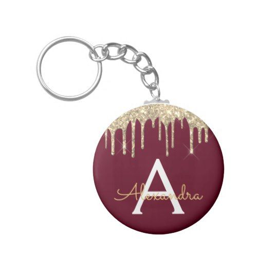 Gold Burgundy Girly Sparkly Glitter Monogram Keychain | Zazzle.com #brautblume