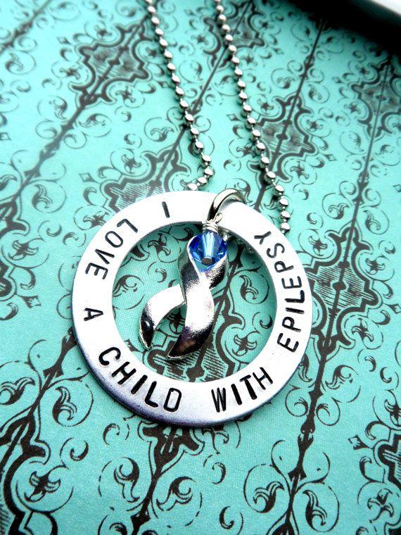 Epilepsy Awareness, I Love A Child With Epilepsy, Purple Ribbon Cause, Epilepsy Jewelry, on Etsy, $25.00