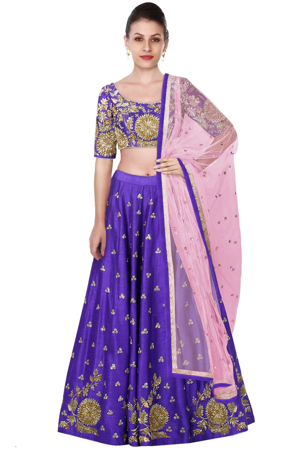 Purple Color Lehenga Choli with Pink Dupatta