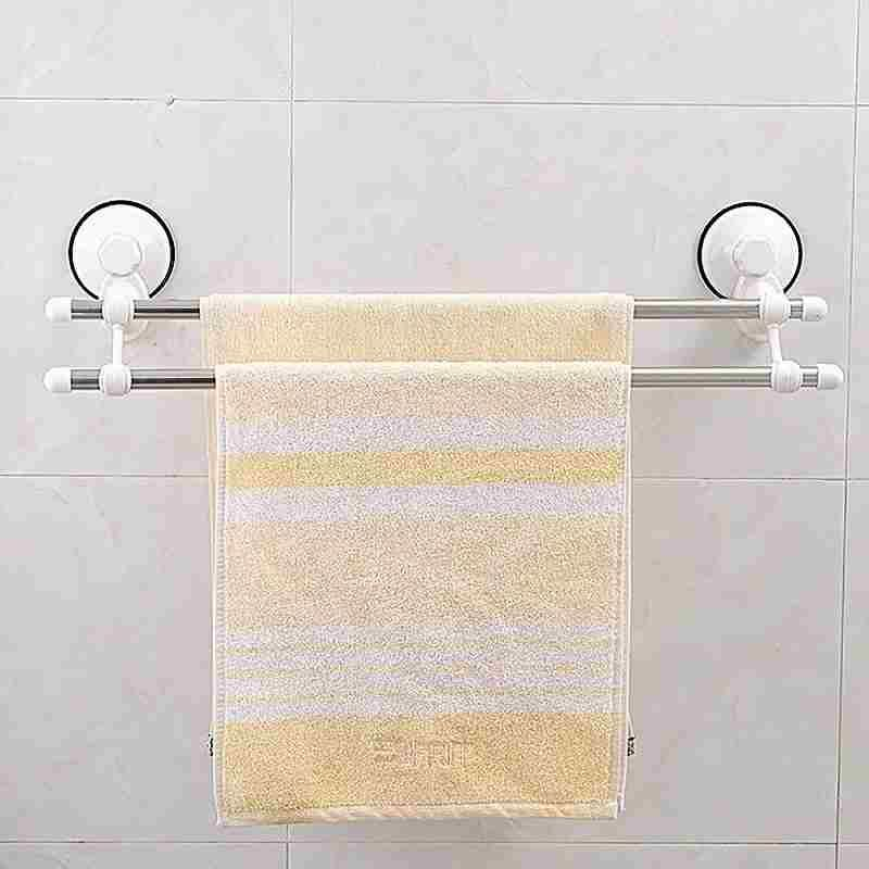 送料無料 吸盤式 強力 2段式タオル掛け ハンガー 吸着 洗面台 風呂場