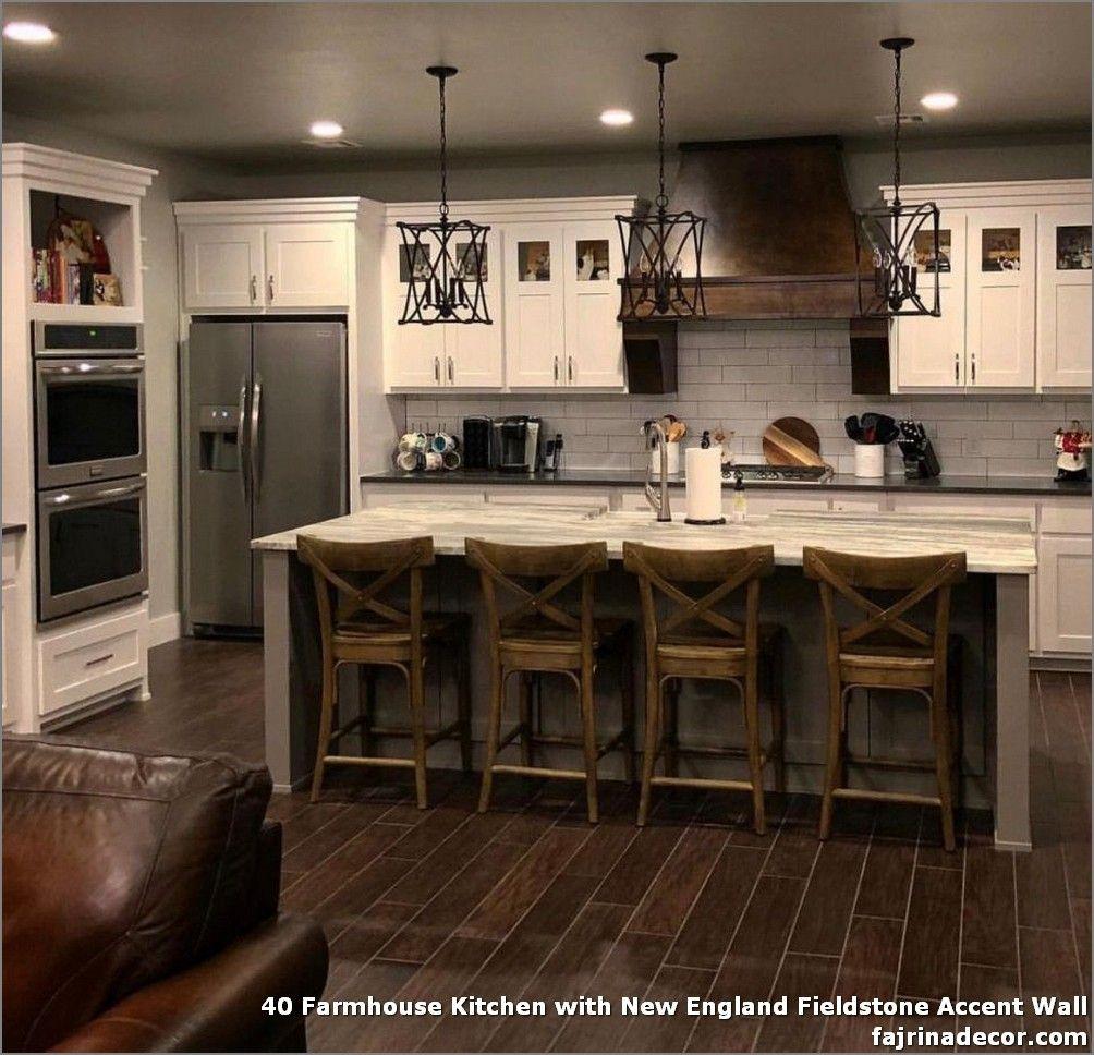 40 Farmhouse Kitchen With New England Fieldstone Accent Wall Farmhouse Kitchen Decor Rustic Kitchen Farmhouse Kitchen Design