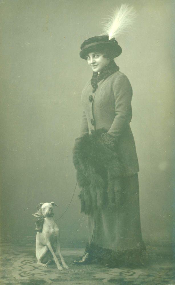 Beautiful Edwardian Lady and her Dog..original vintage french