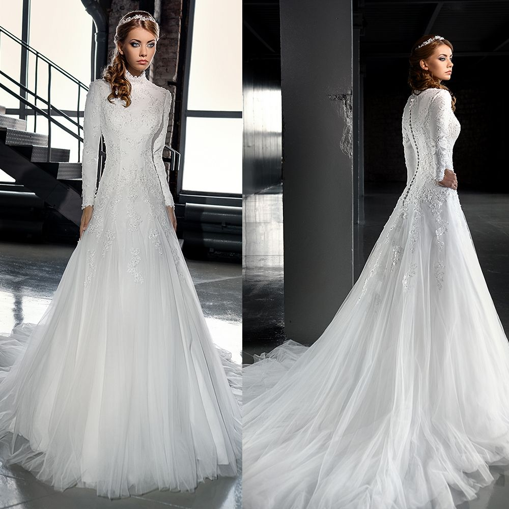 Love the vintage tulle muslim wedding dress long sleeve