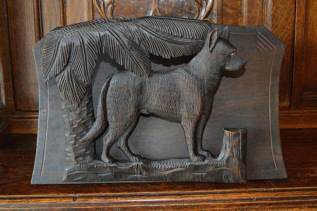 Antique Black Forest Letter Rack Magazine Holder Carved Wood Dog