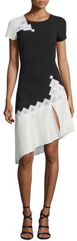 Jonathan Simkhai Diamond-Mesh Short-Sleeve Tee Dress, Black/White