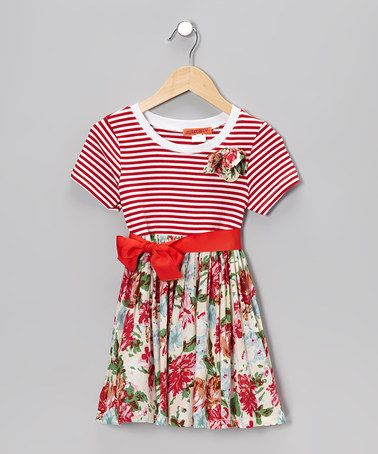 fae7228f6c96 Take a look at this Red & White Stripe Floral Dress - Toddler & Girls by  Funkyberry on #zulily today!