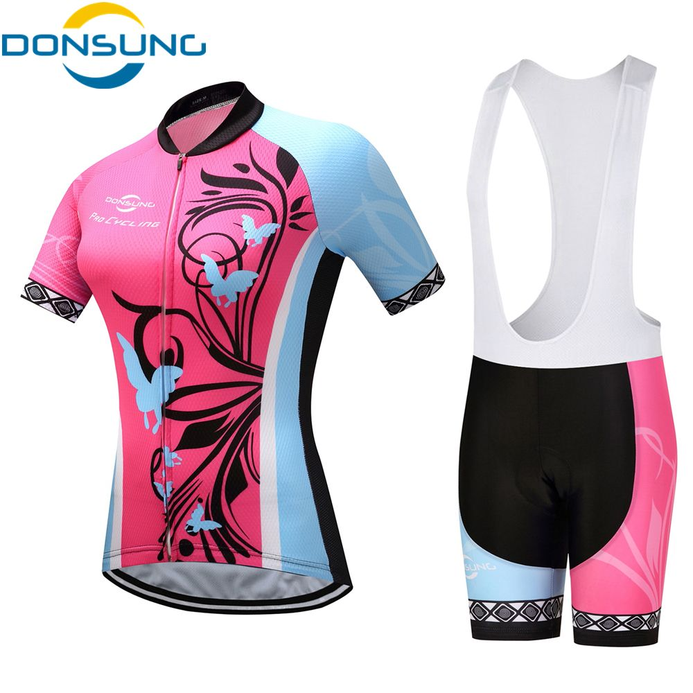 Women Sport Team Cycling Jersey Sets Bike Bicycle Top Short Sleeve Clothing