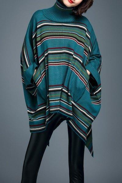 Dezzal - Dezzal Stripe Turtleneck Batwing Sleeve Sweater - AdoreWe.com
