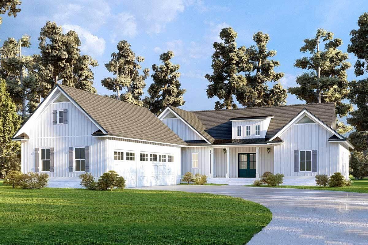 New American Farmhouse Plan with Barn like 3 car Garage