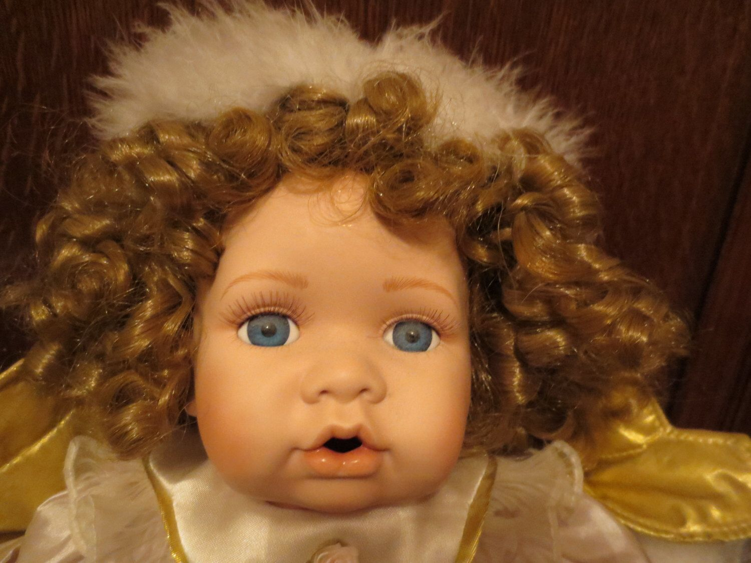 20 inch tall Porcelain Blond Curly hair Angel Baby Doll