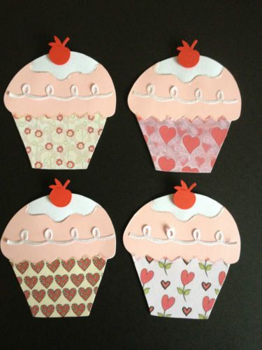 4 Handmade Love themed Cup Cake die cuts card toppers for valentines, celebrations and scrapbooking on Etsy, £2.49