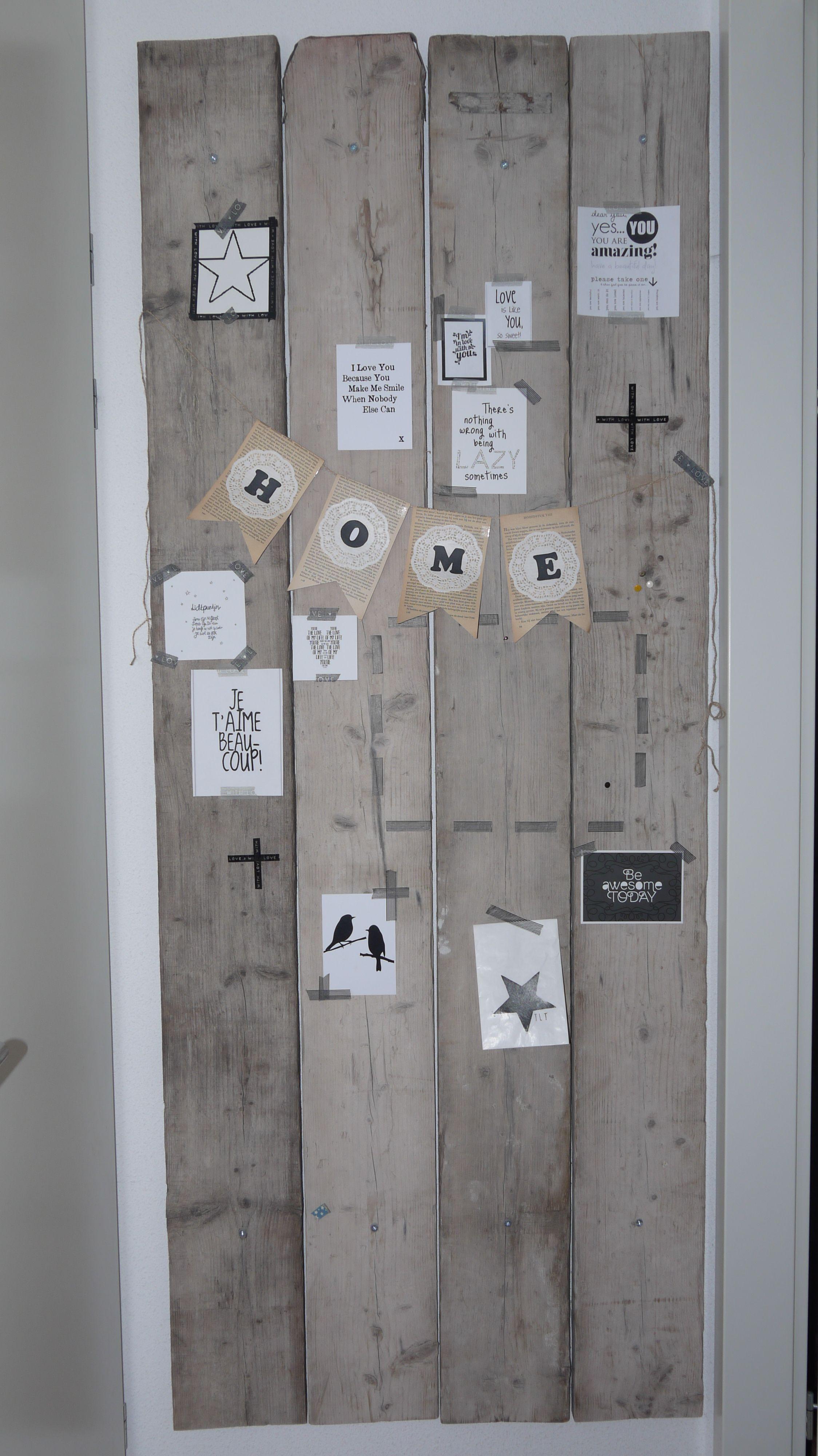 Memobord van steigerhout wood pinterest hout decoratie en voor het huis - Foto houten pallet ...
