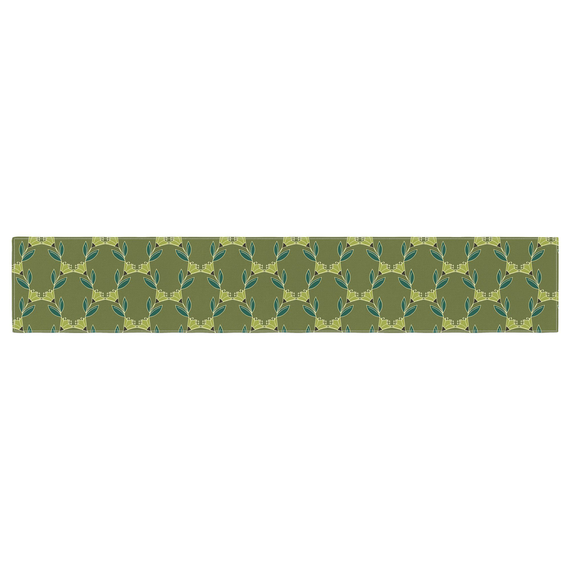 Holly Helgeson Quot Flora Vine Quot Olive Green Table Runner From