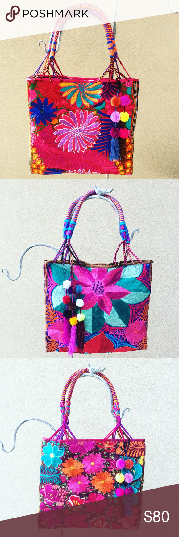 Mexican Embroidered Handbag Tote with Pompoms Handmade in Mexico! New, no tags. Cielito Lindo Bags Totes