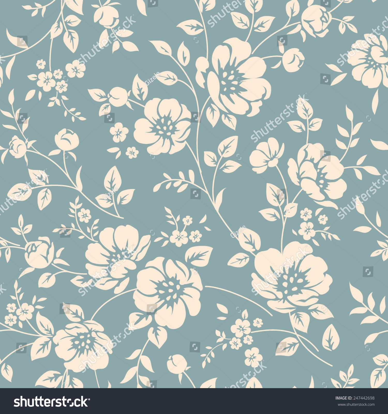 Seamless Vector Floral Wallpaper Decorative Vintage Pattern In