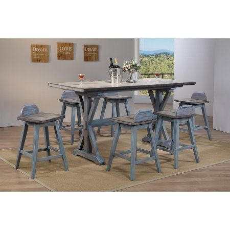 Free Shipping. Buy 7 Piece Grey & Blue Wood Transitional Counter ...