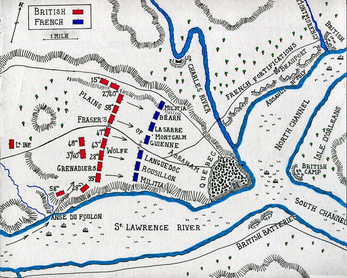 Map Of The Battle Of Quebec 13th September 1759 In The French And