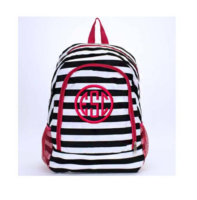 Personalized Black and White Striped with Hot Pink Accents School Size  Backpack Book Bag - Monogrammed Name or Initials or Word by D84Designs on  Etsy c96c0c70764d0
