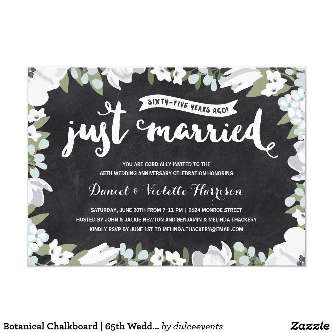 Botanical Chalkboard 65th Wedding Anniversary Invitation