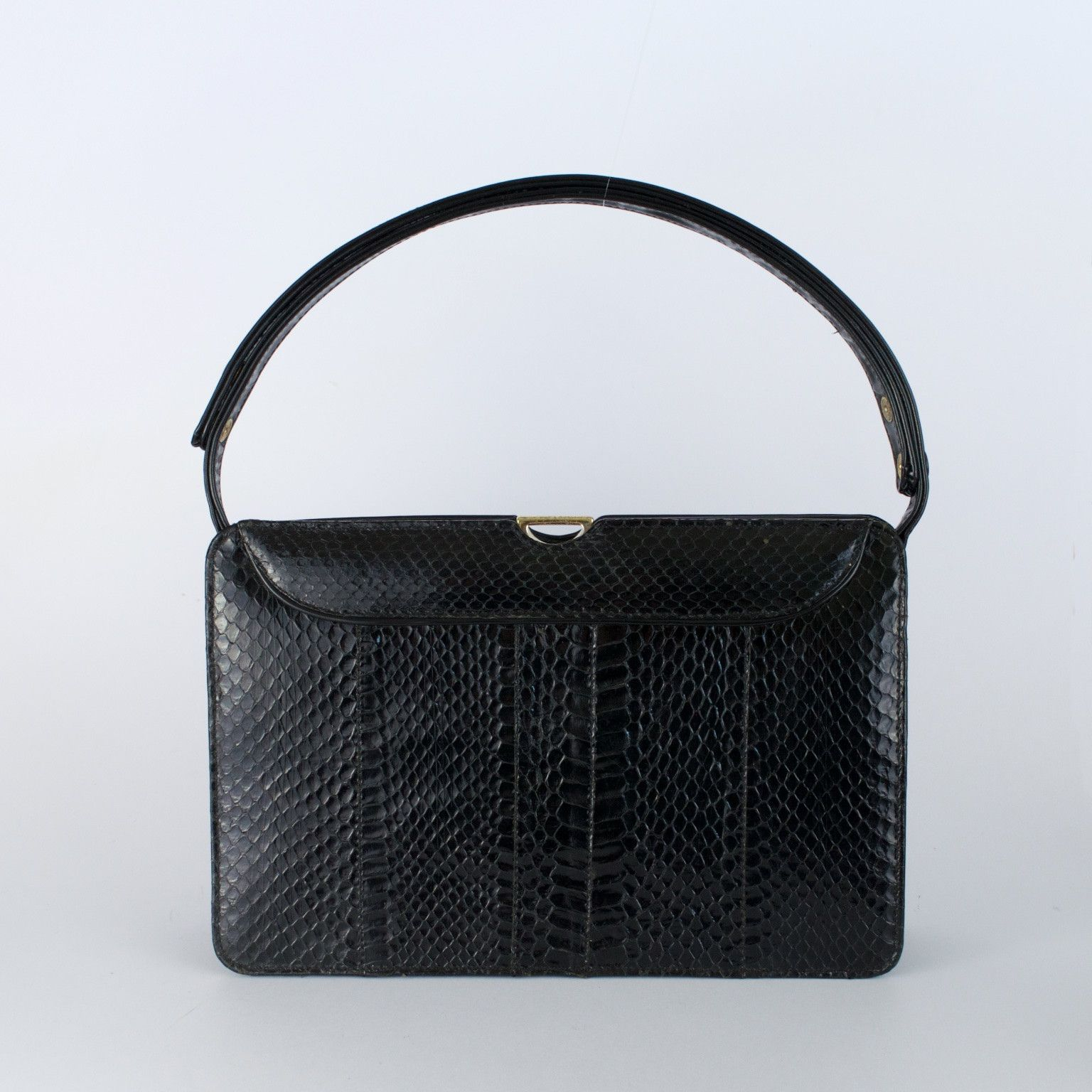 Snakeskin Black And Leather Vintage Handbag Made In England By Ackery Of London 85 From Otterley Hester