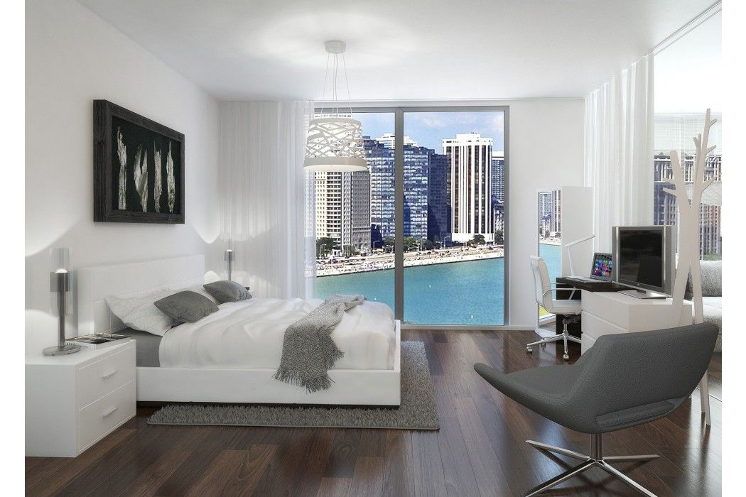 modern contemporary white leather beds miami