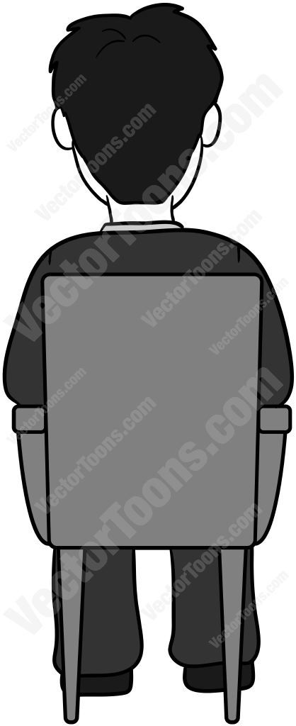 Back View Of A Man With Dark Hair Sitting In A Chair Cartoon Hair Business Man Man Illustration