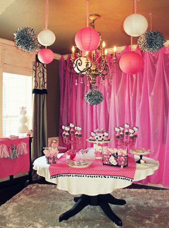 Pink Plastic Tablecloth Background Princess Party In