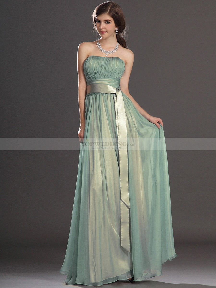 Strapless pleated a line chiffon bridesmaid dress with long tailed strapless pleated a line chiffon bridesmaid dress with long tailed sash ombrellifo Choice Image
