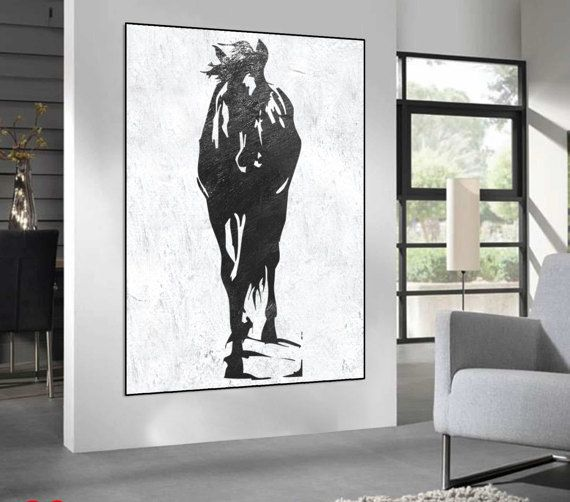 Extra Large Abstract Horse Painting On Canvas Black And White Etsy In 2021 Horse Canvas Painting Abstract Horse Painting Abstract Canvas Art