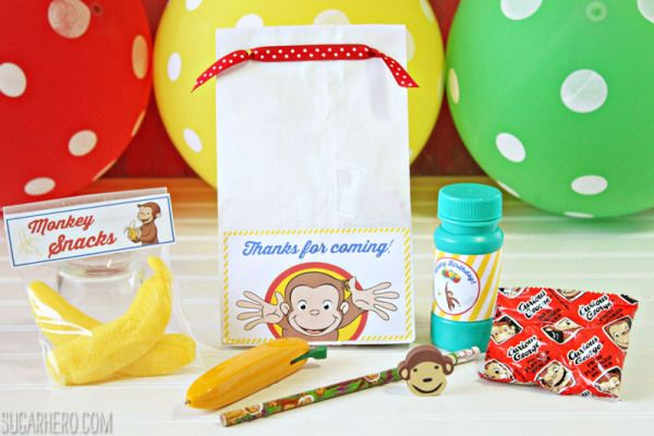 Curious George Birthday Party goody bags  | Curious George Party ideas from SugarHero.com