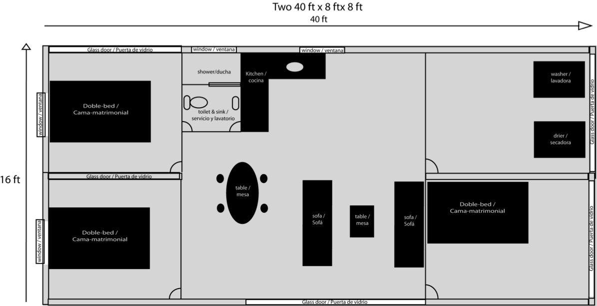 Three bedroom one bath shipping container home floor plan - 40 shipping container home plans ...