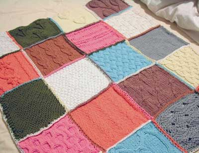 Knit Sampler Afghan Knitted Squaresblocks Patchwork Blanket