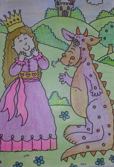 Prinzessin Und Drache Freundschaft Ausmalbild Mit Buntstiften
