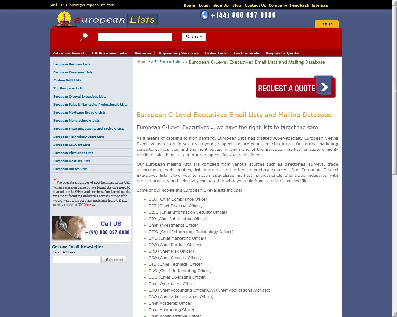 Free list of email addresses - European Lists Provides You The Error Free Email Address Of C Level Executives To Have
