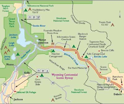 Wyoming Centennial Scenic Byway Map from Dubois to Moran Junction