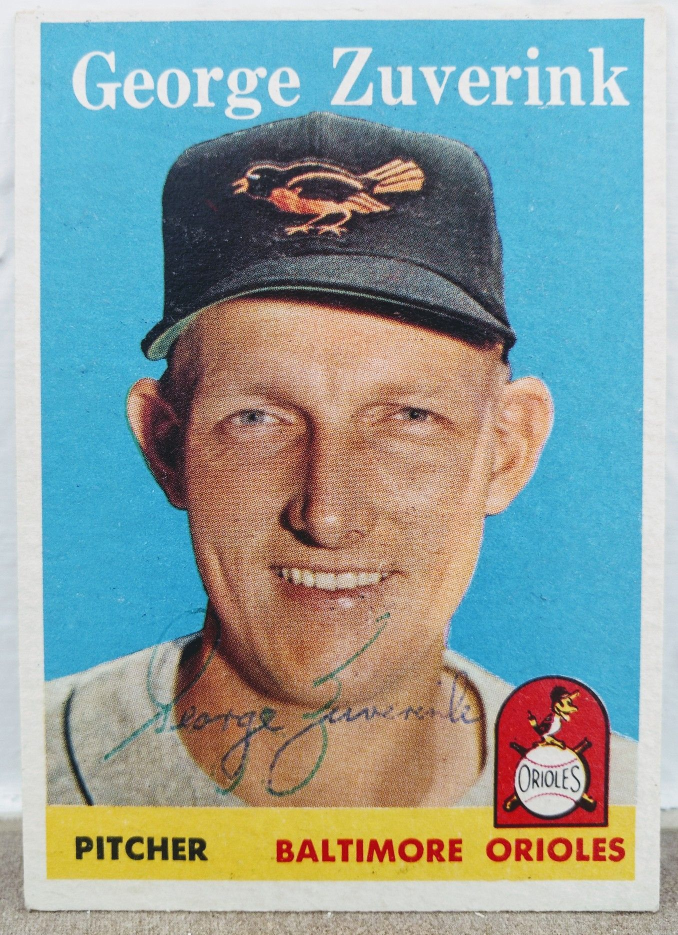 Autographed zuverink baltimore orioles card with