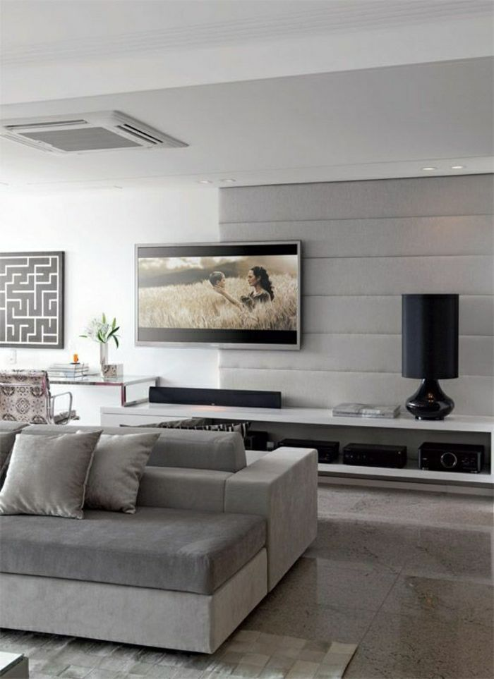 Le Meuble T L En 50 Photos Des Id Es Inspirantes Plafond Blanc Murs Gris Et Meuble Tv