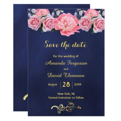 Save the date blue with pink flowers card Flower cards, Romantic - formal invitation style