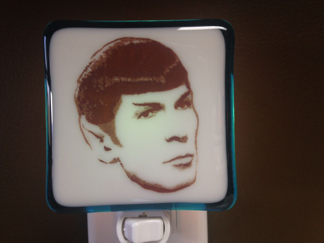 Mr Spock Leonard Nimoy Night Light ~ Handmade fused glass art home and personal accessories available at www.hunkydorystudio.com