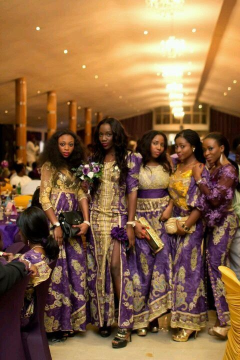 Purple Gold African Bridesmaids African Wedding African Bride